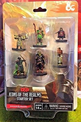 D&D ICONS OF THE REALMS STARTER SET MINIATURES 6 FIGURES #sfeb17-34