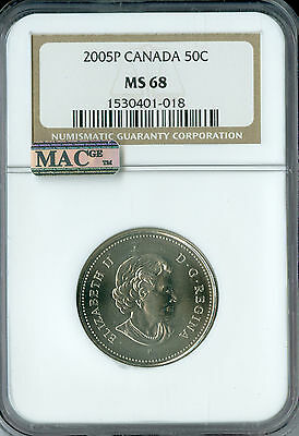 2005-P Canada 50 Cents Ngc Mac Ms68 Pq Low Mintage 2Nd Finest Graded Spotless *