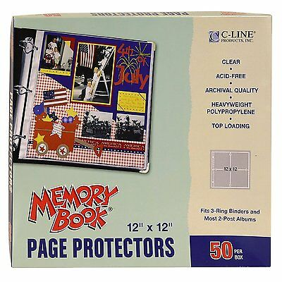 OpenBox C-Line Memory Book 12 x 12 Inch Scrapbook Page Protectors, Clear Poly,