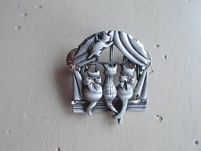 Pewter Kitty Cat in Window Lapel Pin Brooch
