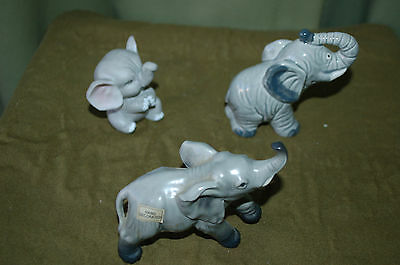 Lot of 3 - Gray ELEPHANT Figurines - Quon-Quon, Enesco, Norcrest - Too Cute