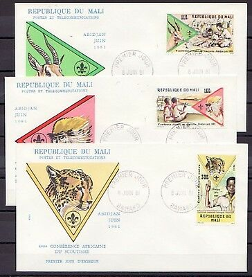 / Mali, Scott cat. 425-427. 4th Scout Conference issue. First day covers.