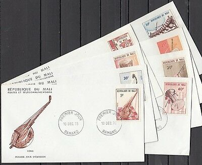 / Mali, Scott cat. 205-212. Native Music Instruments issue. First day covers.