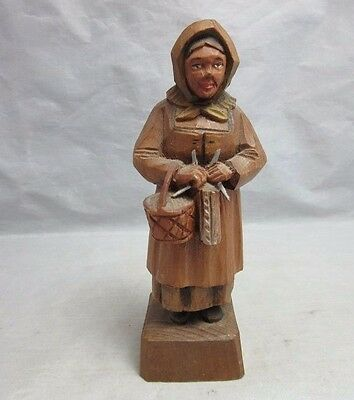 Vtg hand carved wood whittled old woman knitting. Switzerland