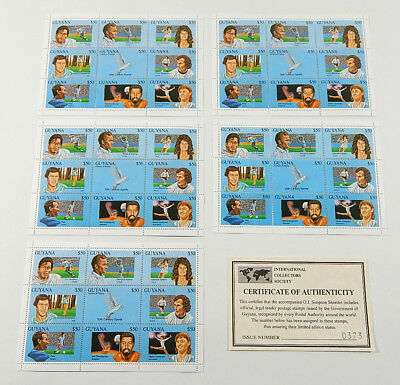 Lot of (5) Guyana 20th Century Athletes Stamp Sheets with COAs ^ OJ Simpson