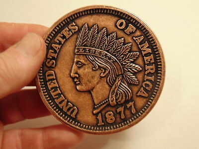 large facsimile 1877 Indian cent coin - 3 inches