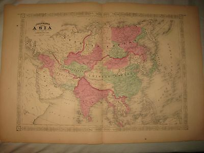 Huge Gorgeous Antique 1868 Asia Johnson Handcolored Map India China Japan Korea