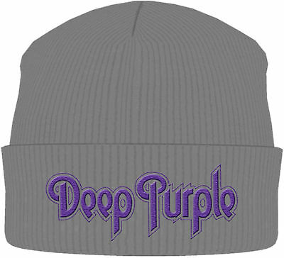 DEEP PURPLE Classic Band Logo Grey BEANIE MÜTZE KNITTED SKI HAT OFFICIAL MERCH