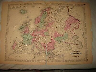 Huge Antique 1868 Europe Johnson Handcolored Map Russia Germany Italy France Nr