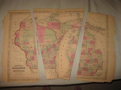 Huge Antique 1868 Wisconsin Michigan Handcolored Map W Northern Peninsula Rare