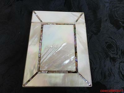 Antique Victorian Mother Of Pearl Card Case Beautiful Inlay Work Great Condition