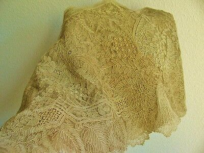 Antique Vintage Point D'angleterre Ecru Lace Trim, 110""