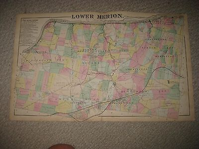 Antique 1871 Lower Merion Township Bryn Mawr Gladwyne Pennsylvania Handcolor Map