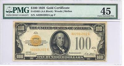 Awesome Serial # Note 1928 $100 Gold Certificate Pmg Xf 45 Choice Extremely Fine