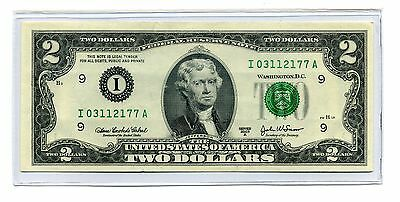 $2 Minneapolis 2003A inspected Low serial # Two Dollar Note + CURRENCY HOLDER