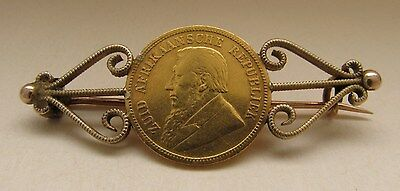 1895 South Africa Zar 1/2 Pond Gold Coin Brooch Pin