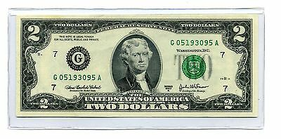 $2 CHICAGO 2003A Low Serial # Inspected Two Dollar Note + Currency HOLDER