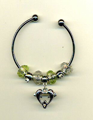 A Pale Green & Clear Murano Beads BRACELET With a dangle of Kissing Dolfins #773
