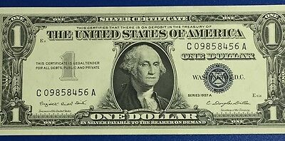 1957A $1 Blue Choice Crisp Uncirculated SILVER Certificate X456 Old Currency