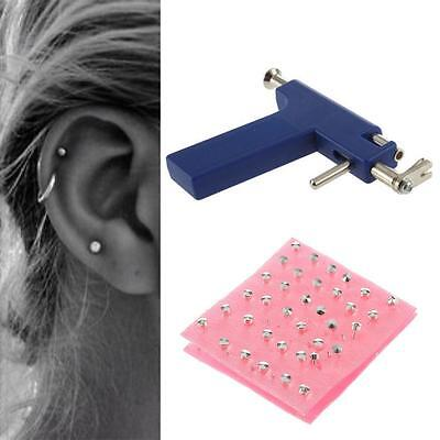 Professional Steel Ear Nose Navel Body Piercing Gun 72pcs Studs Tools Kit Set BO