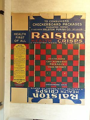 1903 Cereal Box Flat RALSTON HEALTH CRISPS & Checkerboard CHECKER SOLITAIRE GAME