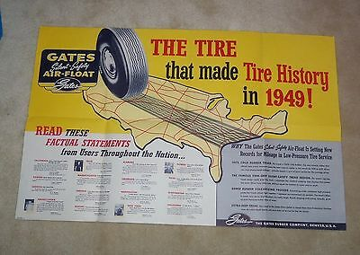 1949 POSTER 23.5 x 35.5 GATES AIR-FLOAT RUBBER TIRES Oil Gas Station