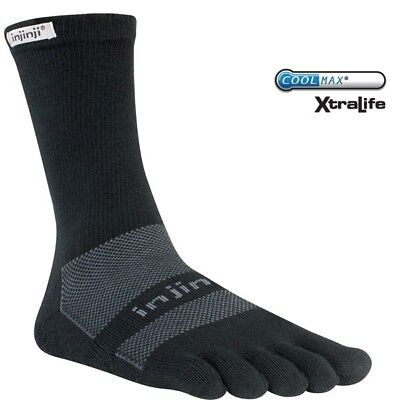 Injinji Multi-Sport Midweight Crew performance toe socks - Black