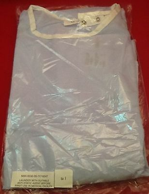 Me14 New Lot Of 5 Universal Patient Hospital Gown Blue Polyester-Cotton Blend