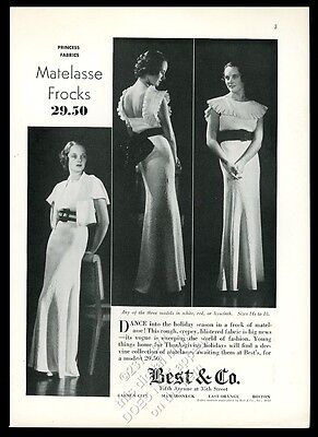 1932 Matelasse dance frock dress 3 women photo Best & Co NYC vintage print ad