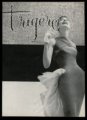 1955 Pauline Trigere dress woman photo vintage fashion print ad