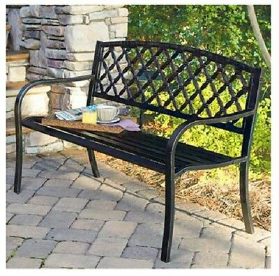 Imperial Co. IP-SV131FB Lattice Panel Steel /Cast Iron Frame Garden Park Bench