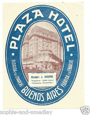 Authentic Vintage Luggage Label ~ Plaza Hotel ~ Buenos Aires, Argentina