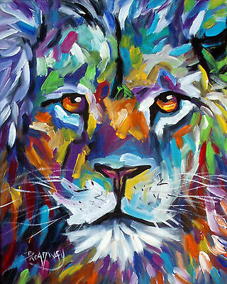 IMPRESSIONISM ORIGINAL ACRYLIC PAINTING MALE LION FACE 16x20 IN. ON CANVAS