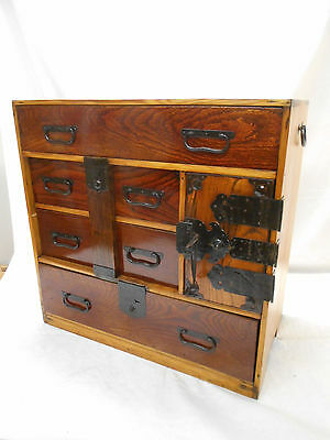 AntiqueSugi and Keyaki Wood Tansu Chest Japanese Drawers Key Circa 1890s #121