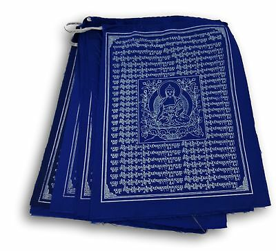 Medicine Buddha Tibetan Prayer Flags Solid Blue Color From Nepal Set of 10 Flags