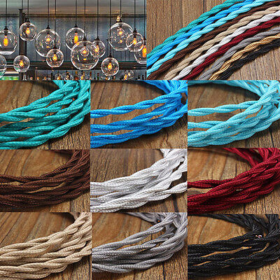 AU Vintage 2/3/5/10M Twisted Braided Fabric Cloth Cable 2 Core Electrical Cord