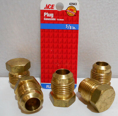 "Lot of 5  Brass Flare 5/8"" Plug Fittings"