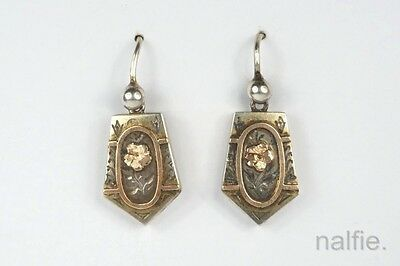 ANTIQUE ENGLISH VICTORIAN PERIOD SILVER & GOLD ROSE FLOWER EARRINGS c1880's