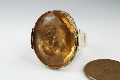 ANTIQUE QUEEN ANNE / GEORGIAN 9K GOLD FOILED CITRINE / TOPAZ PASTE RING c1700's