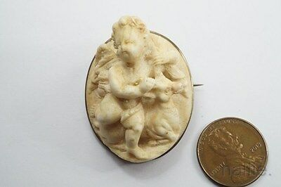 ANTIQUE VICTORIAN HAND CARVED LAVA CUPID / EROS & GOAT CAMEO BROOCH c1870
