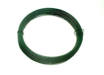 1 X roll of Green Plastic Coated Garden Fence Wire - 1.2 Mm X 0.75 Mm x 30M
