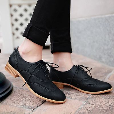 New Fashion Vintage Retro Women Brogue Wing Tip Oxford College Style Dress Shoes