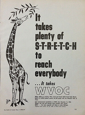 Wvoc Michigan Radio Station 1 Page Advert 1966 Billboard World Of Country Music