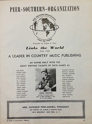 Peer-Southern Organization - 1 Page Advert 1966 Billboard World Of Country Music