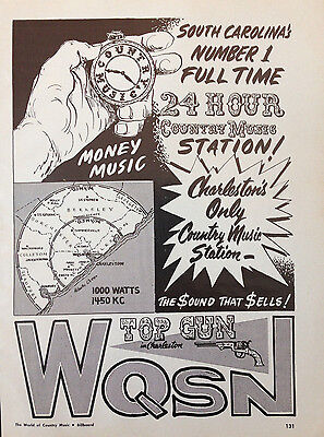 Wqsn Charleston, Sc. Radio - 1 Page Advert 1966 Billboard World Of Country Music