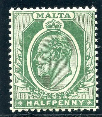 Malta 1909 KEVII ½d deep green superb MNH. SG 47b.