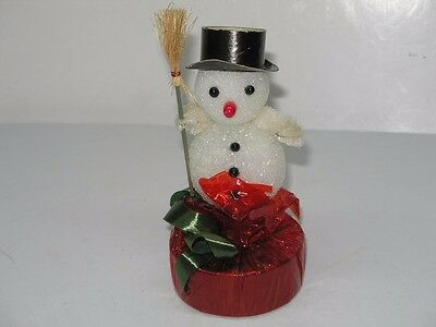 Vintage Snowman Candy Container With Original Candy Inside