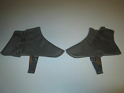 Vintage Military? Button Up Ankle Covers Straps Guards WARNER No. 320 Sz 8 Gray