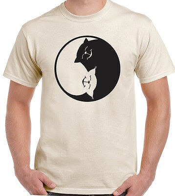 Yin Yang Cat - Mens Funny Feline T-Shirt Pussy Kitten Tom