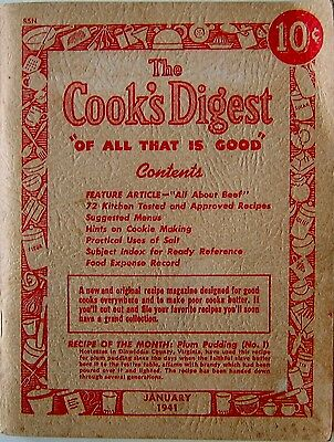 Vintage Cookbook The Cook's Digest January 1941